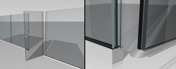 Conceptual design of a thin-glass door hinge (©Peters)