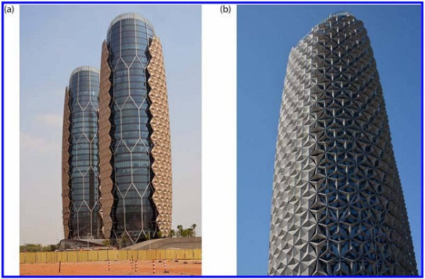 "Figure 1. (a) Northern facade and (b) south facade of Al Bahr Towers, with some opened and closed shading devices – coordinates: 248 27' 23"" N, 548 24' 4"" E; alt: 3m (photo courtesy: Terry Boake)"
