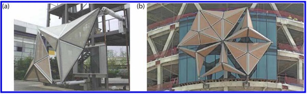 Figure 7. (a) A full-scale prototype of the mashrabiya undergoing mechanical testing at Yuanda's facilities in Shenyang (Aeadas Architects Ltd) and (b) the onsite benchmark for six mashrabiyas.7