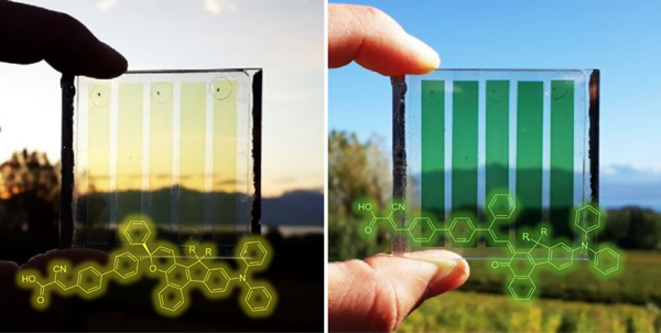 Legend: Photochromic solar cells change from pale yellow to orange, red or even dark green in bright light, increasing their photovoltaic efficiency at the same time. Credit: IRIG/CEA