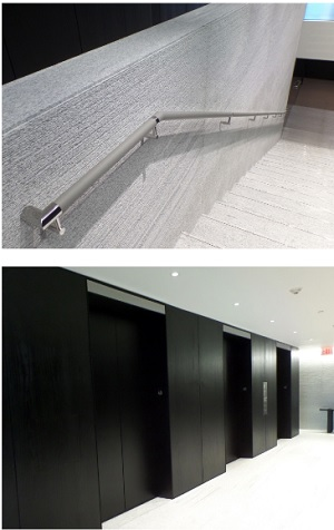 Leather-wrapped handrail; Elevator bank