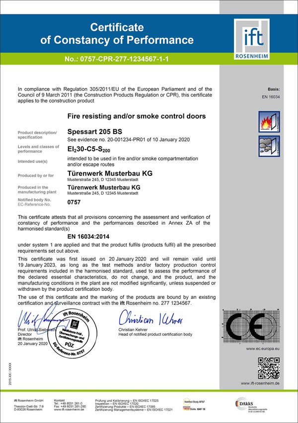 "The ""Certificate of constancy of performance of the product"" is a requirement for the CE mark (Source: ift Rosenheim)"