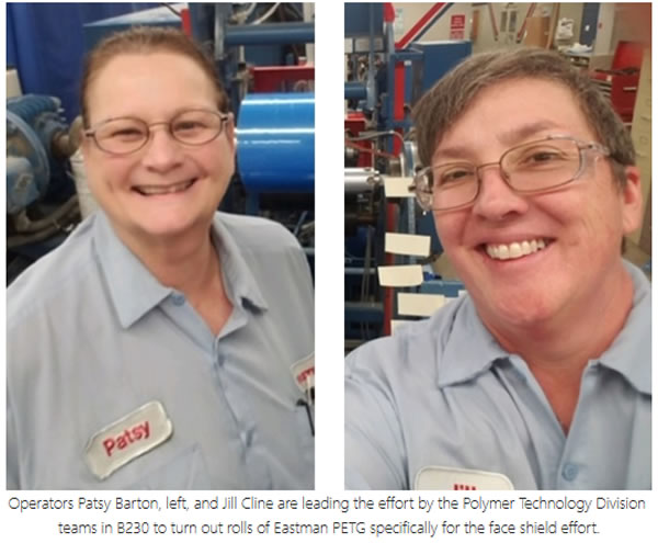 Eastman team members Patsy Barton and Jill Cline, operators in the company's Polymers Technology Division, took the lead on rapid production of PETG film for the fabrication of face shields.