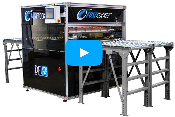 Conveyors pictured in both images are for demonstration purposes only. The FuseRocket will seamlessly fit between your existing conveyors