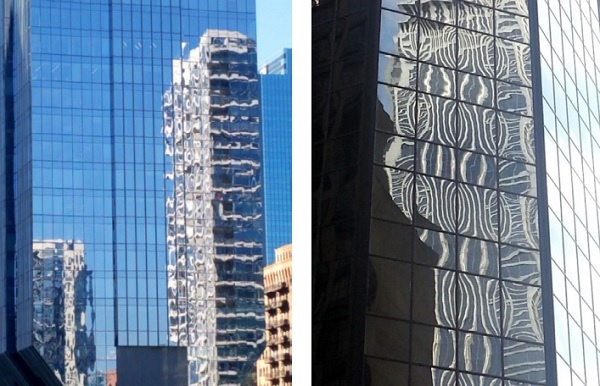 Figure 1: Examples of bad visual quality of facades and tempered glass in Chicago and New York