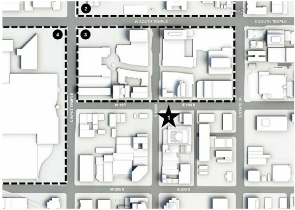 Figure 1 – Site Plan: 1. 111 Main Tower; 2. Temple Square; 3. City Creek; 4. Museum and Convention Center