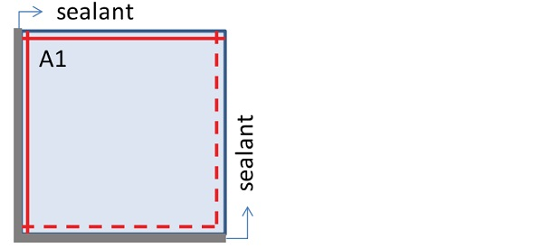 Figure 2 - Application of different sealant material on the edges of the samples 300 mm x 300 mm