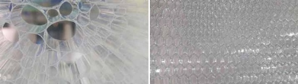Fig 2 Examples of material inside insulated glass panel cavity a.) PVC, b.)Aluminium honeycomb