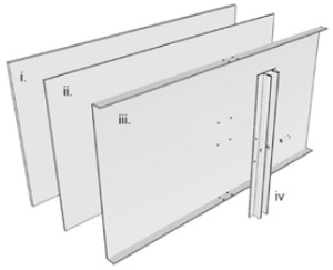 Figure 3 Build-up of the composite panel: i… glass, ii…silicone, iii…backing panel, iv…adapter profile