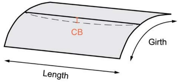 Figure 4 - Cross bend (CB) deviation of a curved panel