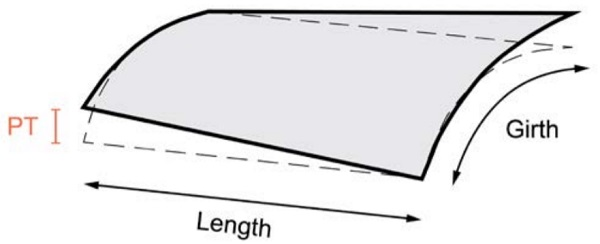 Figure 5 – Panel twist (PT) deviation of a curved panel