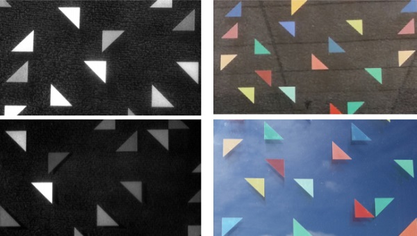 Figure 5. (Upper Left) A UV Image of the digitally printed coating, printed in a randomly colored triangle pattern and illuminated with conventional fluorescent light. (Upper Right) A conventional, interior photograph of the digitally-printed glass. (Lower Left) UV Image of the digitally-printed glass illuminated with 395 nm light. (Lower Right) A conventional, exterior photograph of the digitally-printed glass.
