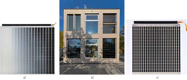 Figure 5. Facade test facility at the University of Stuttgart: b) south facade with substructured switchable glazing units in two test rooms on the ground floor (right: module type 1 a), left: module type 2 c))