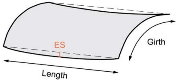 Figure 6 – Edge straightness (ES) deviation of a curved panel