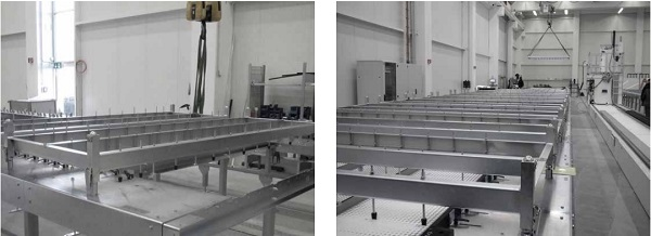 Figure 7: Bespoke lifting frames, without (left) and populated with panels (right)