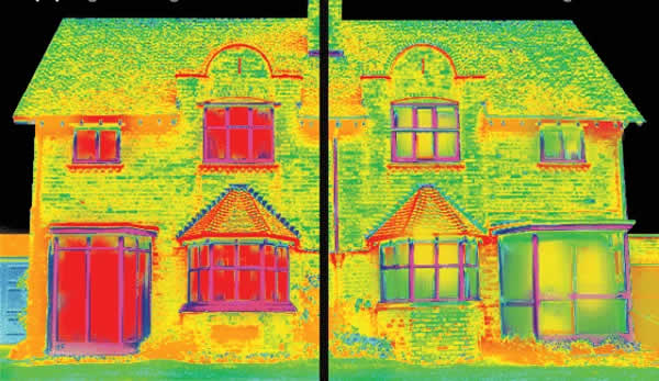 Thermal image of a home before and after being re glazed with Low-E Heat retaining Double Glazing