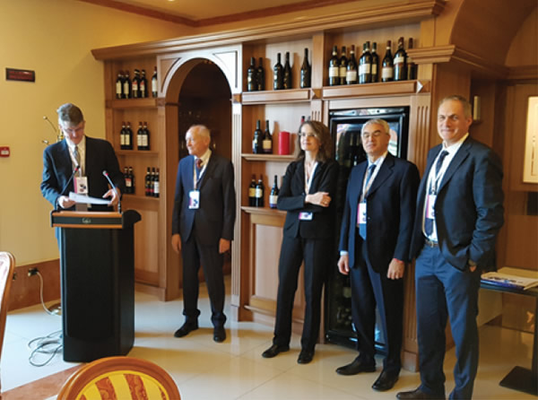 From the left: Bart Pascoli (ICE Chicago), Sandro Salmoiraghi (Federmacchine President), Laura Biason (Gimav Director), Ferdinando Pastore (ICE), Matteo Picariello (ICE Chicago)