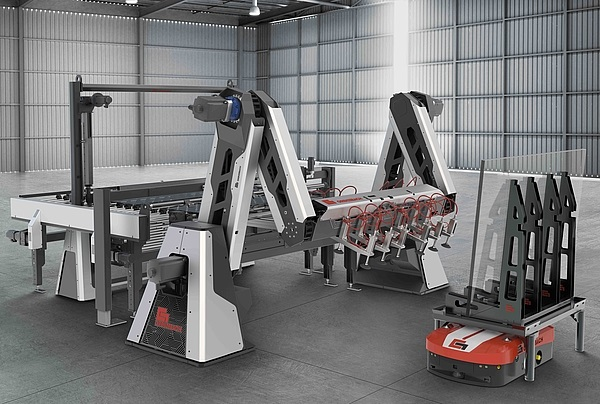 Combined with the accumulator, conveyor line and Automated Guided Vehicles (AGV), the Tin-Air-SpeedStacker shows numerous advantages. With the new double-arm kinematics connected to an ideal matching infeed section with glass sheet accumulator, a highly efficient, fast and flexible stacking cell for small glass sizes up to 2m was created. Source: Grenzebach