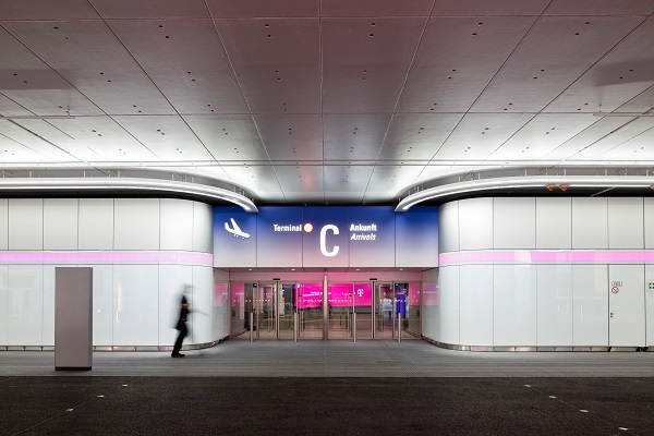 Luminous White Walls at Frankfurt Airport's Terminal 1