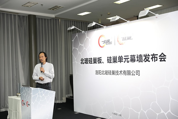 "Luo Yi, Luo Yi, Deputy Director of Architectural Society of China Curtain Wall Specialized Committee and the leader of the expert group, delivered a keynote speech on ""applicability of SiNest materials in curtain wall"""