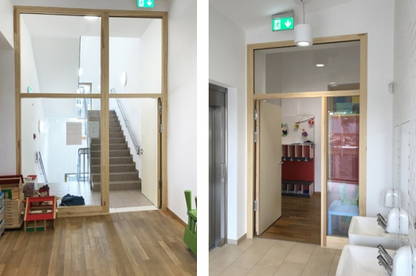 POLFLAM® fire-resistant glass in the door and wooden windows with natural finishing at the school premises in Kayl, Luxembourg