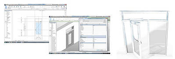 Left: Complete door system using the example of the Revit CAD program Centre: In addition to 3D data, complete element features are also displayed Photos: GEZE GmbH