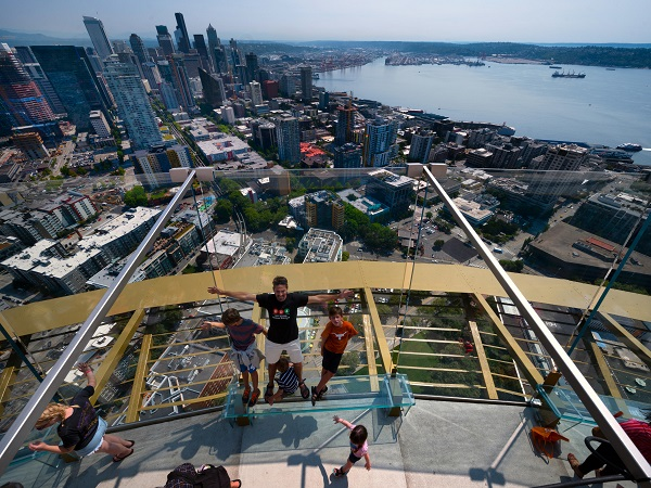 Visitors get 360-degree indoor and outdoor panoramic views of the city, Mount Rainier, Puget Sound and the cascades and Olympic mountain ranges