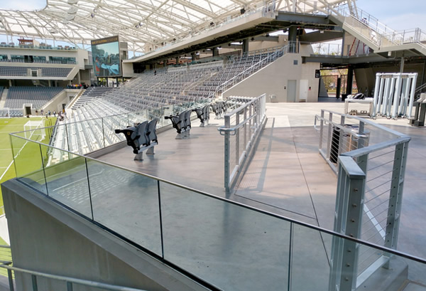 Banc of California Stadium – Los Angeles, CA | ADA compliant glass and cable rail with steel framing