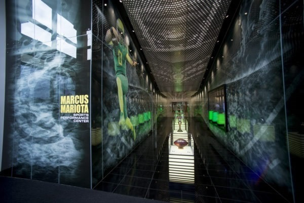 Entrance to the breathtaking trophy lobby at the Marcus Mariota Sports Performance Center. © Kris Iverson, of Moon Shadow Glass
