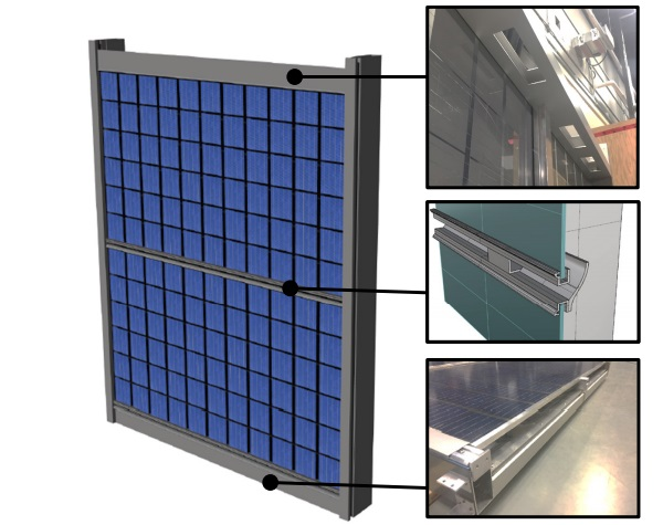 Rendering of BIPV/T Prototype. Images on right side (from top): Air collector outlets, middle inlet detail, air intake/flashing at base