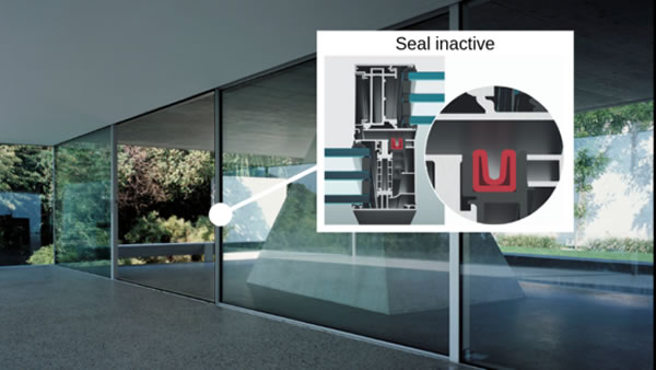 Inactive seal: Press the button again to open. The air escapes and the seal returns to its original rolled position.