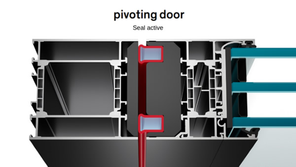 The opening function of the pivot doors is new, what remains is our unique air sealing system.