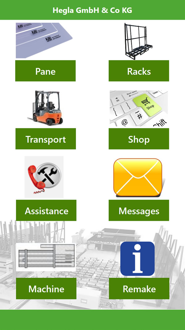 Image 1: The app's various functions map sub-sections and functions of the value chain, simplify processes, structure workflows, and make it possible to request the further transport of a piece of glass, report breakage, identify a pane, determine a rack position, organise maintenance process, and more.