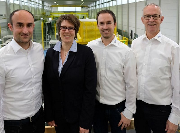 Rejoicing about the latest innovations – from left: Thomas Herzog, Managing Director; Sandra Kugler, A+W Sales and Customer Support for Glas Herzog; Andreas Herzog Jr., Managing Director; Andreas Herzog Sr., Managing Director