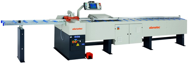 Glazing bead saw GLS 192: The new version of this classic with redesigned clamping technology makes it possible to cut two glazing beads simultaneously, among other things. Image copyright: elumatec AG, Mühlacker