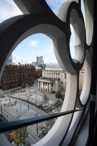 The view from one of the tracery windows across St Peter's Square