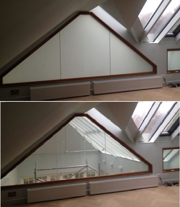 Fire Resistant Switchable Glass installed in a residential application. Project in collaboration with Pryoguard.