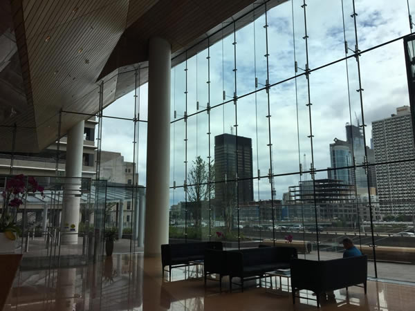 FMC Tower Lobby Sparkles with Structural Glass
