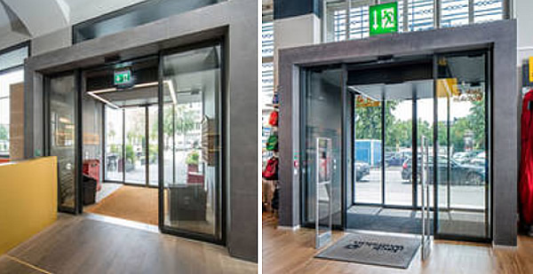 F.l.t.r.: Door control and protection with GC 363 SF combined detectors: for reliable detection with direction detection. They provide the highest level of security in the escape route by means of integrated self-monitoring. Entrance to the Wolfskin store: Also on the side façades: free accessibility and escape route protection in the continuous GEZE door design with Slimdrive SL-FR sliding door systems. Photos: GEZE GmbH