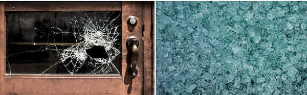Left: standard annealed glass breaks into sharp shards; Right: toughened or tempered glass shatters into tiny pebble-size pieces