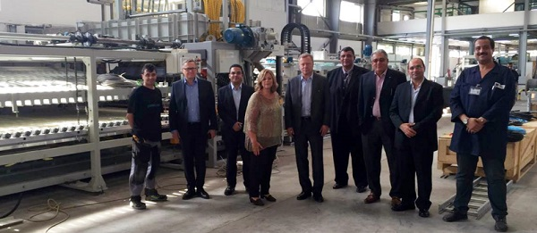 The company's relationship with Glaston dates back to 1992, when the first bending and tempering line for sidelites was ordered. DG Glass has several Glaston furnaces. From the left: Tomi Honkala & Pekka Hytti, Glaston; Seif El Kaissy, Glaston's Agent Medgenco; Mrs. Mona Greiche, CEO of Dr. Greiche group, responsible for the investment; Arto Metsänen, Glaston; Mohamed Ezz, DG Glass; Mahmoud El Kaissy & Mohamed Nabeeh, Glaston's Agent Medgenco; Ahmad Tawfik, DG Glass