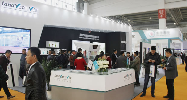 LandGlass booth is crowded with visitors.
