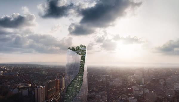 Studio Libeskind to build twisted, tree-covered skyscraper for Toulouse