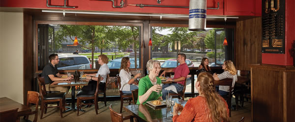 Kolbe's folding windows bring the sights and sounds of Wausau's historic downtown to patrons