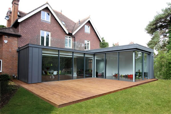 KELLER minimal windows® to rear L shaped extension in Walton on Thames