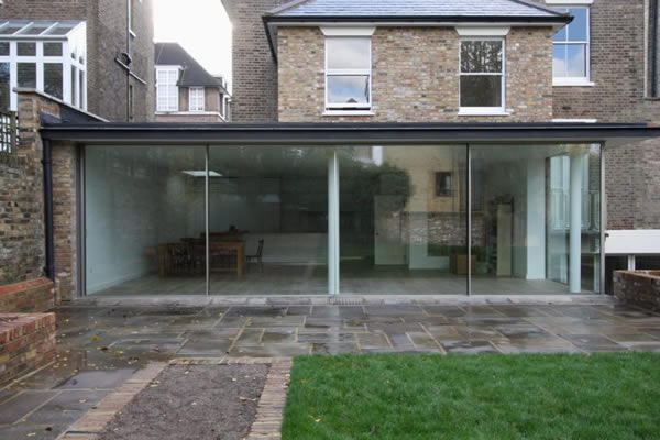 KELLER minimal windows® to two elevations of a single storey extension in Highbury, London