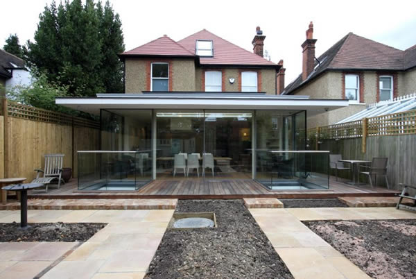 KELLER minimal windows® to glass box on the rear of a new build house in North London
