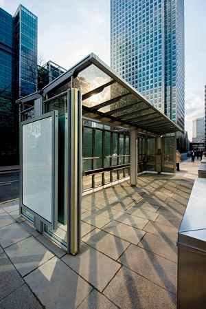 Transparent Solar Bus Shelter, Canary Wharf, London. Polysolar PS-CT-64/48 units (2.8 kWp).