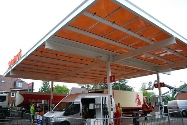 Polysolar Petrol Station Canopy, Sainsbury's, Bishop's Waltham. Polysolar PS-C901 transparent panels (15.7 kWp).