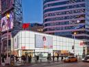 "Opaque finish acid-etched on low-iron glass by Vitro Architectural Glass lights up H&M flagship store in Toronto's ""Times Square North"""